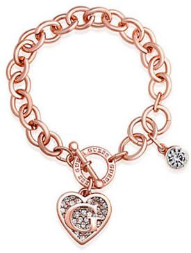 GUESS Rose Gold Logo Heart Charm Toggle Bracelet