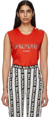 Balmain Red Buttoned Logo Sleeveless T-Shirt