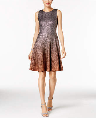 MSK Glitter Ombré Metallic Fit & Flare Dress $109 thestylecure.com