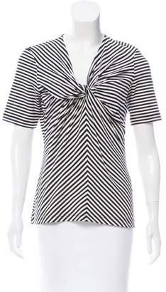 Rena Lange Striped V-Neckline Top