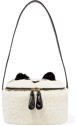 Anya Hindmarch Leather-trimmed Shearling Lunchbox - Ecru