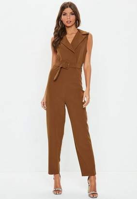 Missguided Brown Belted Plunge Romper