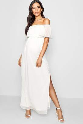 boohoo Maternity Off Shoulder Dobby Spot Maxi Dress