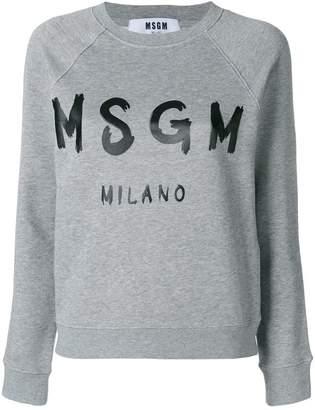 MSGM cropped logo print sweatshirt