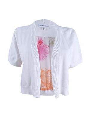 Calvin Klein Women's Short Sleeve Knit Shrug with Floral Printed Chiffon Back