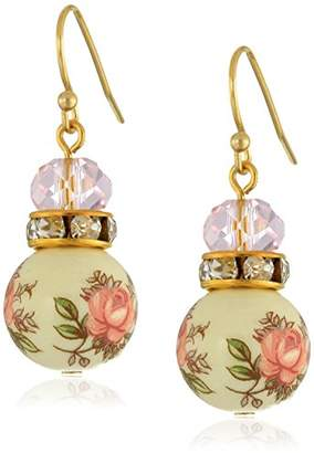 1928 Jewelry Floral Decal Beaded Drop Earrings