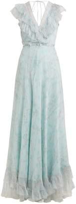 Luisa Beccaria Floral-print silk-chiffon gown