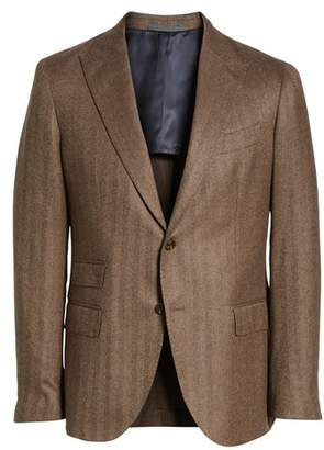 Eleventy Trim Fit Herringbone Wool Sport Coat