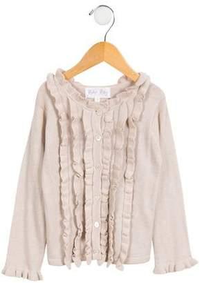 Rachel Riley Girls' Ruffled Button-Up Cardigan
