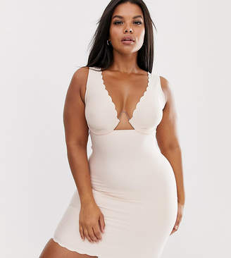 b93787d24 Figleaves Curve Smoothing Luxe firm control slip dress with exposed wire in  blush