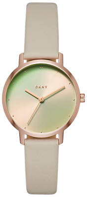 DKNY NY2740 Women's Modernist Leather Strap Watch, Grey/Multi