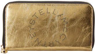 Stella McCartney Perforated Logo Zip Around Metallic Wallet