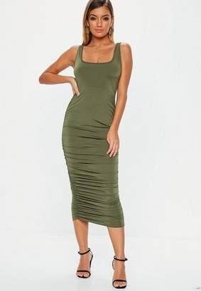 Missguided Khaki Slinky Ruched Side Midi Dress