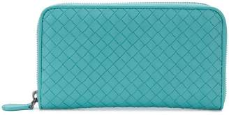 Bottega Veneta aqua Intrecciato nappa zip-around wallet