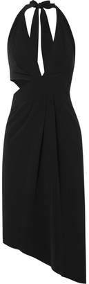Halston Cutout Stretch-crepe Halterneck Midi Dress - Black