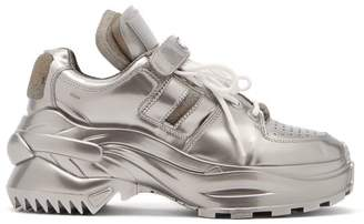 Maison Margiela Retro Fit Laminated Trainers - Womens - Silver