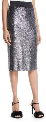 Moschino Metallic Boucle Knit Pencil Skirt