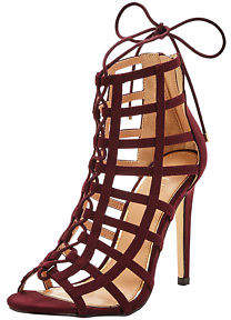 Lipsy Caged Lace Up Sandals In Burgundy Size UK 8