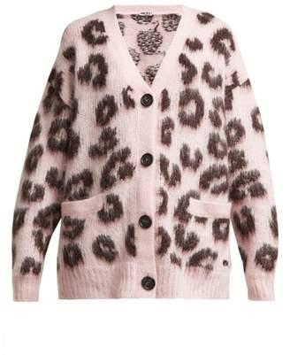 Miu Miu Leopard Print Mohair Blend Cardigan - Womens - Pink Multi