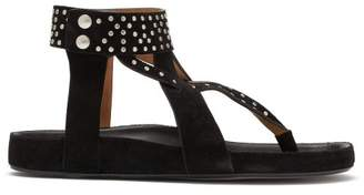 Isabel Marant Ellan Studded Suede Sandals - Womens - Black