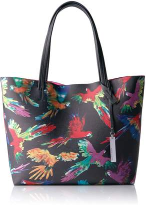 Vince Camuto Women's Maro Top Handle Tote Bag, Parrot Navy Blue Combo Print/Shocking Pink