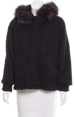 Rebecca Minkoff Fur-Trimmed Knit Jacket