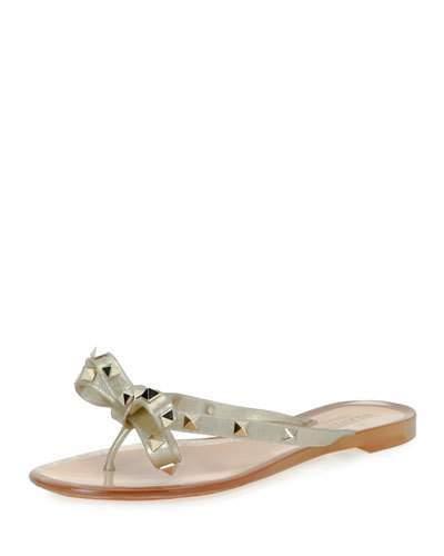 Valentino Rockstud PVC Flat Thong Sandal, Gold