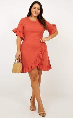 Showpo Unproductive Days Dress In Rust Linen Look - 14 (XL) Dresses