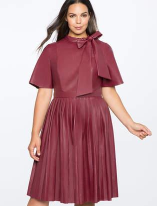 ELOQUII Faux Leather Tie Neck Dress