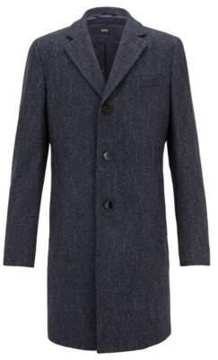 BOSS Hugo Slim-fit coat in a patterned wool 36R Open Blue