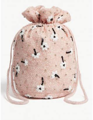 Ganni Floral sequin drawstring purse