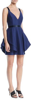 Halston V-Neck Mini Dress w/ Dramatic Flounce Skirt