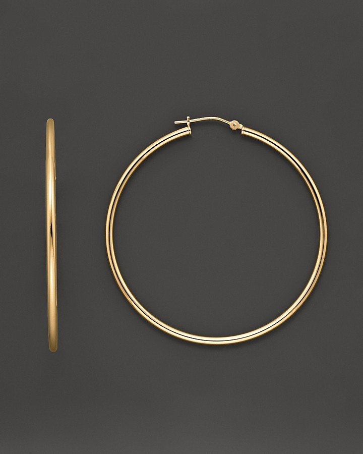Large Polished Yellow Gold Hoop Earrings, 50 mm