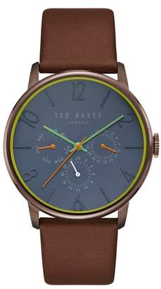 Ted Baker James Multifunction Leather Strap Watch, 42mm