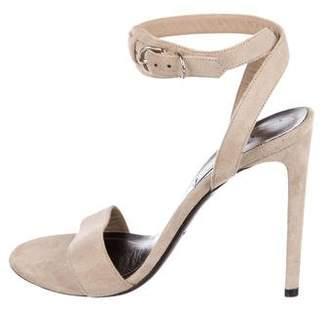 Balenciaga Suede Ankle Strap Sandals