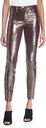 J Brand L8001 Mid-Rise Metallic Leather Leggings