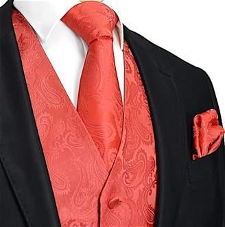 Brand Q Men's 3pc Paisley Design Dress Vest Tie Handkerchief Set (M , )