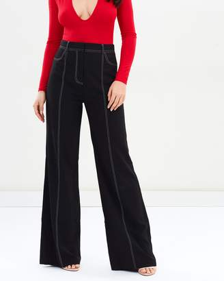 Missguided Contrast Stitch Wide Leg Pants