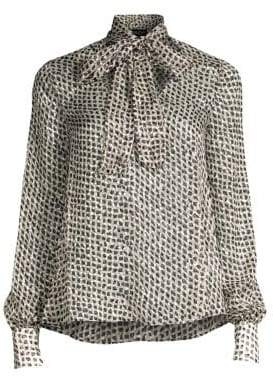 Saloni Lauren Diamond Print Tie Neck Blouse