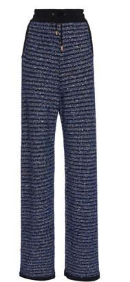 Balmain Sequin Stripe Crochet-Knit Pants