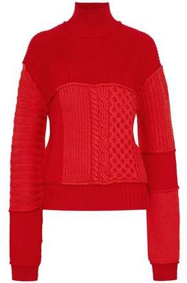 McQ Paneled Wool And Cashmere-Blend Turtleneck Sweater