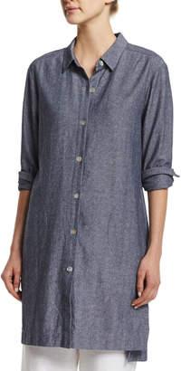 Go Silk Petite Long-Sleeve Cross-Dye Linen Duster