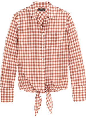 J.Crew - Tie-front Gingham Stretch-cotton Shirt - Brick $70 thestylecure.com