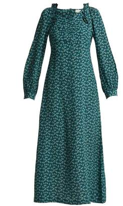 Masscob Provence floral-print silk midi dress