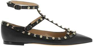 Valentino Ballet Flats Rockstud Spikes Ballerina Flat In Textured And Smooth Leather