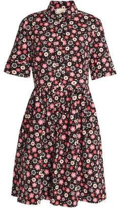 Kate Spade Gathered Floral-Print Stretch-Cotton Poplin Mini Dress