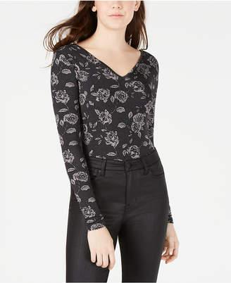 Material Girl Juniors' Printed V-Back Bodysuit