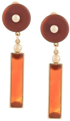 Crystalline long agate earrings