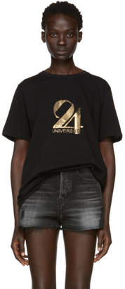 Saint Laurent Black and Gold 24 Universite T-Shirt