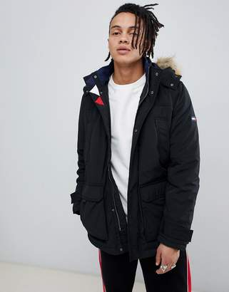 Tommy Jeans technical quilted parka faux fur trim hood in black